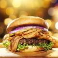Gourmet bacon hamburger Royalty Free Stock Photo
