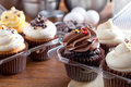 Gourmet bakery cupcakes close up of some decadent frosted with a variety of frosting flavors Royalty Free Stock Image