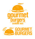 Gourmet burgers available here signs. Stock Images