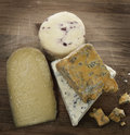 Gourmet cheese on a wooden board Royalty Free Stock Image