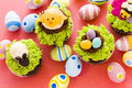Gourmet chocolate easter cupcakes individually decorated Royalty Free Stock Photography