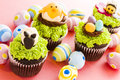 Gourmet chocolate easter cupcakes individually decorated Stock Photo