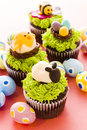 Gourmet chocolate easter cupcakes individually decorated Royalty Free Stock Images