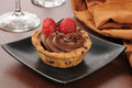 Gourmet chocolate mousse dessert cup a with a chip cookie crust Royalty Free Stock Photography