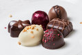 Gourmet chocolates six pieces of fancy for the holidays Royalty Free Stock Images