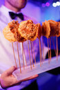 Gourmet delicious dishes and food catering fusion cuisine photo Stock Image