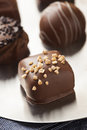 Gourmet fancy dark chocolate truffle candy for dessert Royalty Free Stock Photography