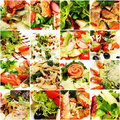 Gourmet food background salad collage restaurant Stock Images