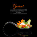 Gourmet food creamy puree with vegetable decoration on black background Royalty Free Stock Images
