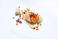 Gourmet food scallop white plate Stock Photography