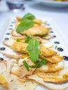 Gourmet fore gra salada dish in franch restaurant in paris Royalty Free Stock Photos
