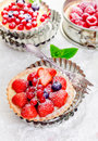 Gourmet fresh fruit tartlets with berries Stock Photos
