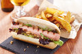 Gourmet hot dog on slate board with rustic fries Stock Photography