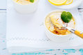 Gourmet lemon pudding, sweet dessert Stock Image