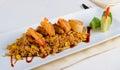 Gourmet lemony risotto recipe on white plate close up rectangular emphasizing tasty prawns top Stock Photo