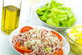 Gourmet meat salad with tomato,onion,lettuce Royalty Free Stock Image
