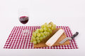 Gourmet moments with wine and cheese grapes in landscape format Stock Image
