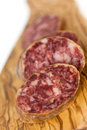 Gourmet Pepper Salami with garlic Royalty Free Stock Photography