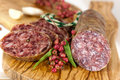 Gourmet Pepper Salami with garlic Stock Image