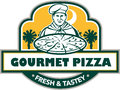 Gourmet pizza chef palmetto trees shield retro illustration of a with set inside and banner with the words text fresh tastey and Stock Photography