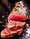 Gourmet portion of rare roast beef fillet Royalty Free Stock Photo