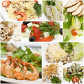 Gourmet salads collage - European cuisine Royalty Free Stock Photo