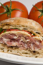 Gourmet sandwich on ciabatta bread Royalty Free Stock Photo