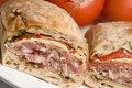 Gourmet sandwich on ciabatta bread Royalty Free Stock Images
