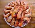 Gourmet seafood meal - many shrimps Royalty Free Stock Photo