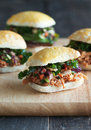 Gourmet sliders mini appetizer sandwiches with pulled meat and vegetable slaw Stock Photo