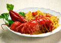 Gourmet Tasty Lobster with Linguine Pasta on Plate Royalty Free Stock Photo