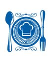 Gournet food award with plate a blue and cutlery decorated a winners laurel wreath and chefs toque or hat design illustration Stock Image