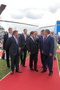 Government delegation zhukovsky russia aug headed by dmitry medvedev at the international aviation and space salon maks aug at Stock Photo