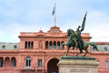 Government house in buenos aires argentina casa rosada and san martin statue south america Royalty Free Stock Photos