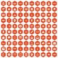 100 government icons hexagon orange