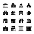 Government and public building vector icons