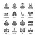 Government, public building vector icons set