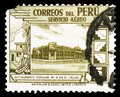 Government restaurant at Callao, Air Mail Stamps of 1938: Country Motives serie, circa 1938 Royalty Free Stock Photo