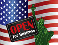 Government shutdown open sign with statue of liberty for business usa american flag illustration Stock Image