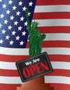 Government shutdown open sign statue of liberty illustration with we are on usa american flag background Stock Photo
