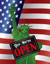 Government shutdown we are open sign with us flag statue of liberty closeup yes on usa american background illustration Royalty Free Stock Photography