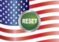 Government shutdown reset button with us flag illustration american background Stock Image