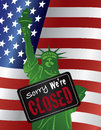 Government shutdown statue of liberty closed sign illustration closeup with sorry we are on usa american flag background Royalty Free Stock Photos
