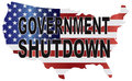 Government shutdown usa map illustration text outline with american flag in country silhouette Royalty Free Stock Image