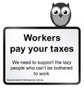 Government taxation monochrome comical pay your taxes sign isolated on white background Royalty Free Stock Image