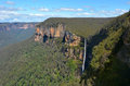 Govetts Leap Falls descending into the Grose Valley located with Royalty Free Stock Photo