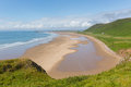 The gower coast rhossili south wales one of the best beaches in the uk beach peninsula Royalty Free Stock Photography