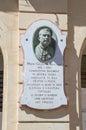 Gozo Island, Malta - May 8, 2017: Memorial to memorize Giuseppe Farrugia. Royalty Free Stock Photo