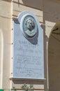 Gozo Island, Malta - May 8, 2017: Memorial to memorize Maltese women poets Mary Meylak or Meilak. Royalty Free Stock Photo