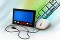 Gprs screen connected with computer mouse in color background Royalty Free Stock Photo